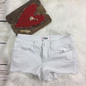 PINK Victoria's Secret White Denim Cutoff Shorts